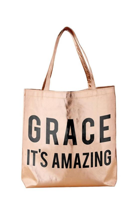 Grace, It's Amazing Metallic Tote-Faithworks-Sandy's Secret Wednesdays Unique Boutique