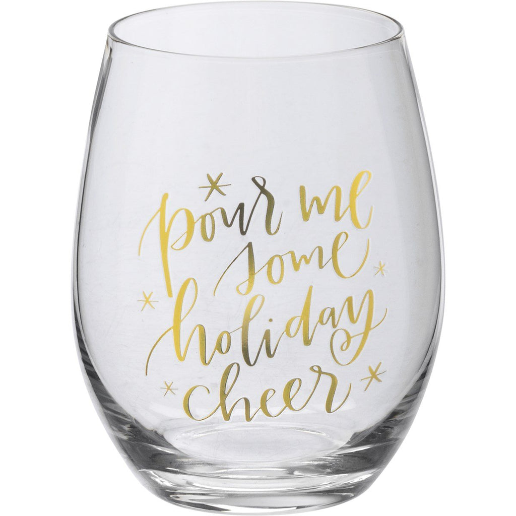 Holiday Stemless Wine Glass-Kathy's Primitives-Sandy's Secret Wednesdays Unique Boutique