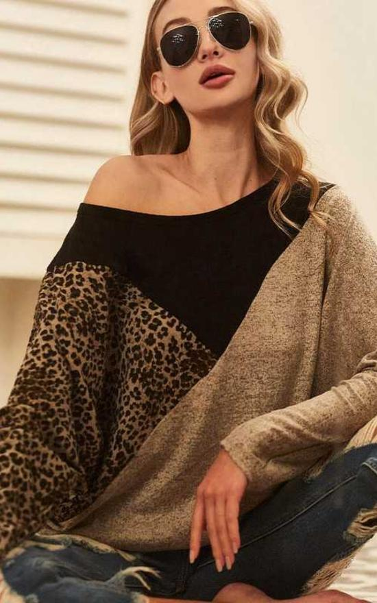 Leopard Color Block Hacci Top-Vanilla Monkey-Sandy's Secret Wednesdays Unique Boutique