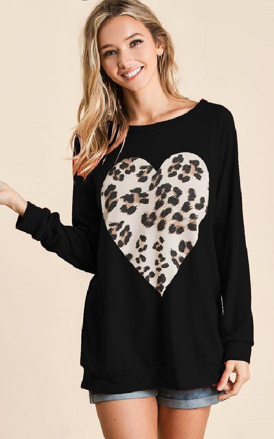 *Leopard Heart Long Sleeve Top-Bibi-Sandy's Secret Wednesdays Unique Boutique
