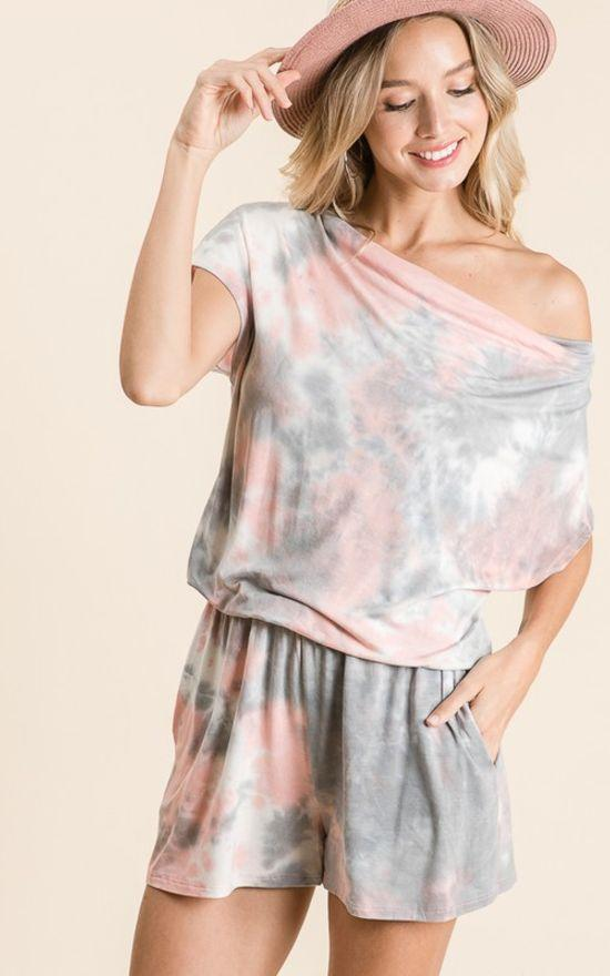 Loose Fit Neck Tie Dye Romper-Reborn J-Sandy's Secret Wednesdays Unique Boutique