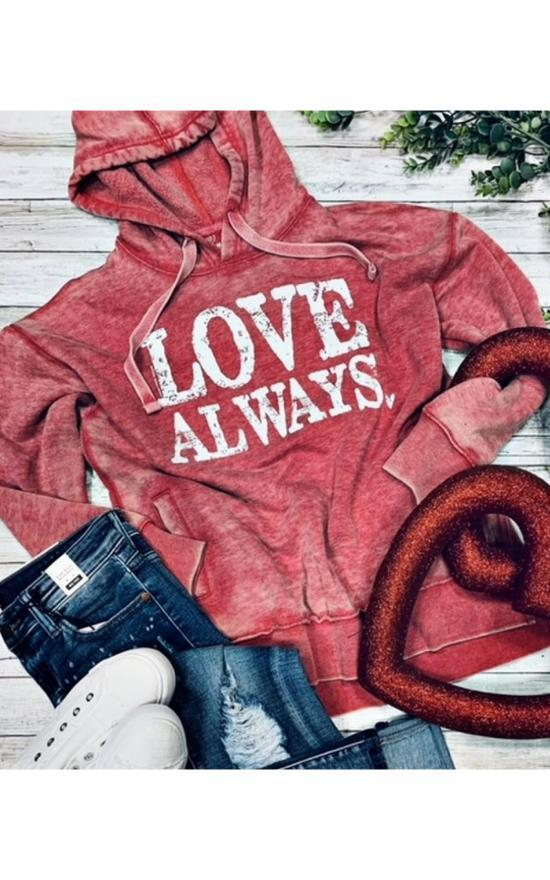 Love Always Hoodie-Texas True Threads-Sandy's Secret Wednesdays Unique Boutique