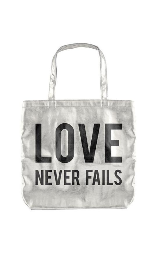 Love Never Fails Metallic Tote-Faithworks-Sandy's Secret Wednesdays Unique Boutique