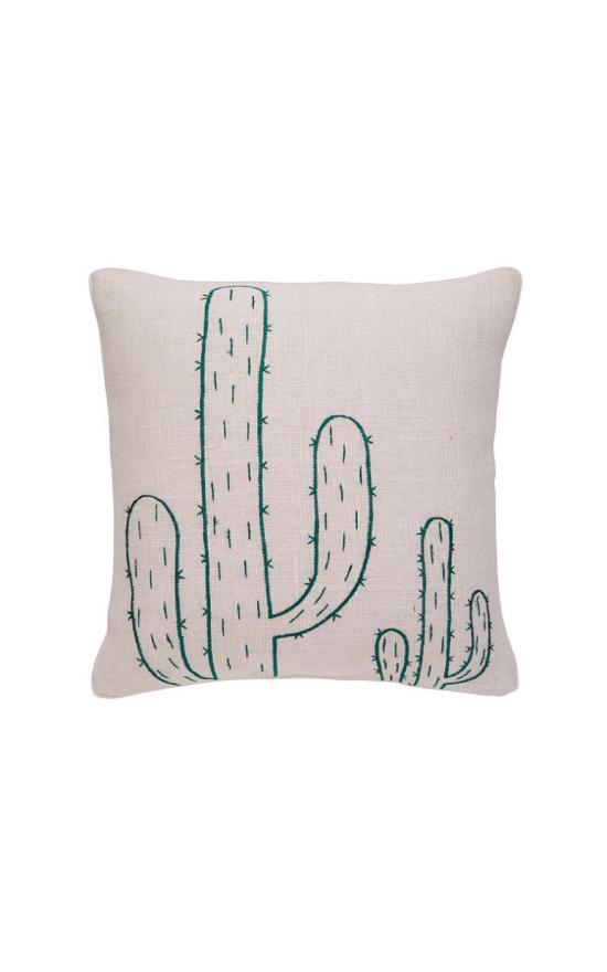 Mud Pie Embroidered Cactus Jute Square Pillow-Mud Pie-Sandy's Secret Wednesdays Unique Boutique