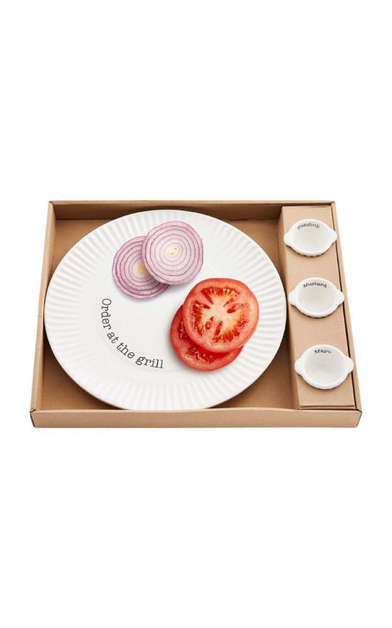 Mud Pie Grill Plate & Condiment Boxed Set-Mud Pie-Sandy's Secret Wednesdays Unique Boutique