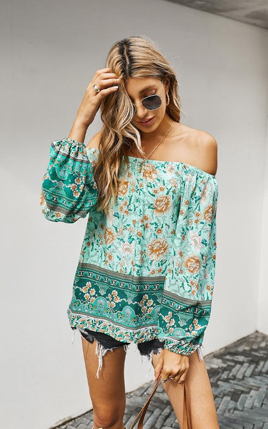 Off Shoulder Floral Ruffle Top-Mountain Valley Trading-Sandy's Secret Wednesdays Unique Boutique