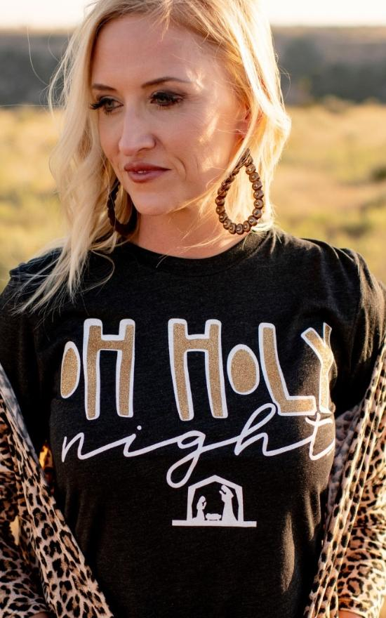 Oh Holy Night Glitter Tee - Curvy-Texas True Threads-Sandy's Secret Wednesdays Unique Boutique