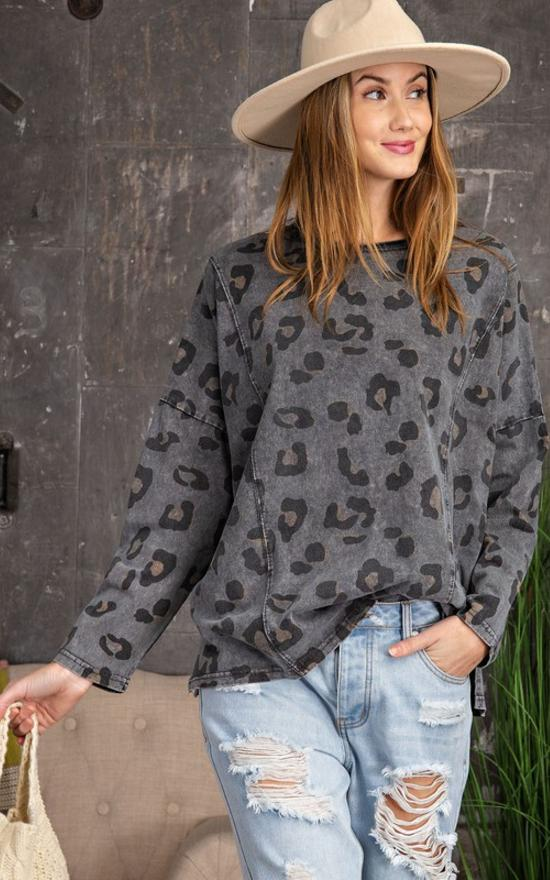 Piper Leopard Long Sleeve Top-Easel-Sandy's Secret Wednesdays Unique Boutique