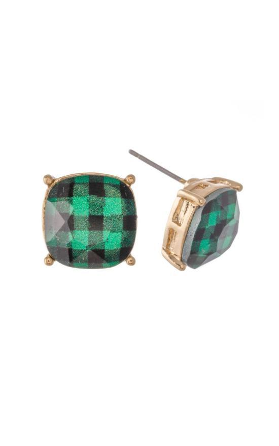 Plaid Stud Earring-Judson & Company-Sandy's Secret Wednesdays Unique Boutique