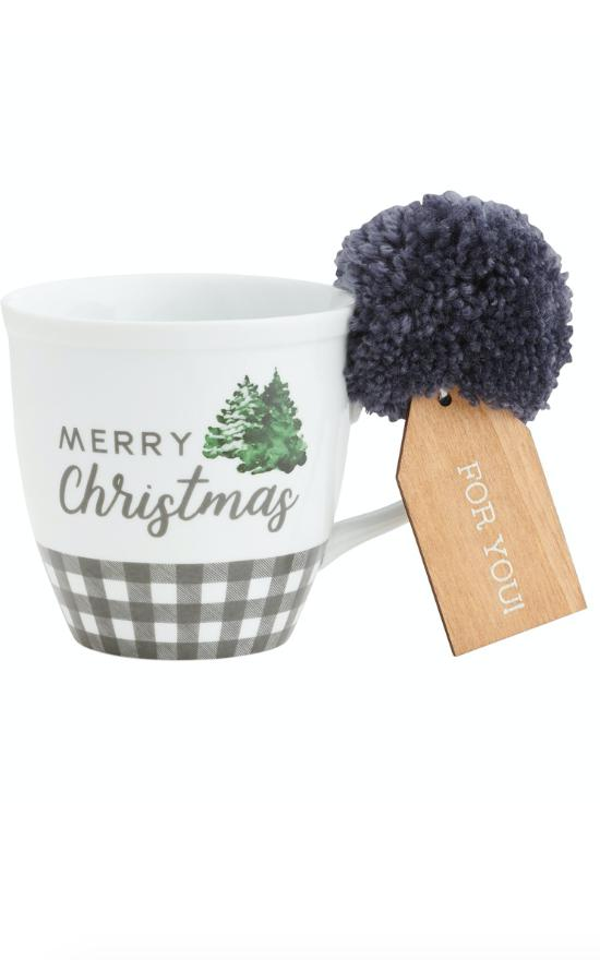 *Porcelain Holiday Mug with Pom-Collins Painting & Design-Sandy's Secret Wednesdays Unique Boutique