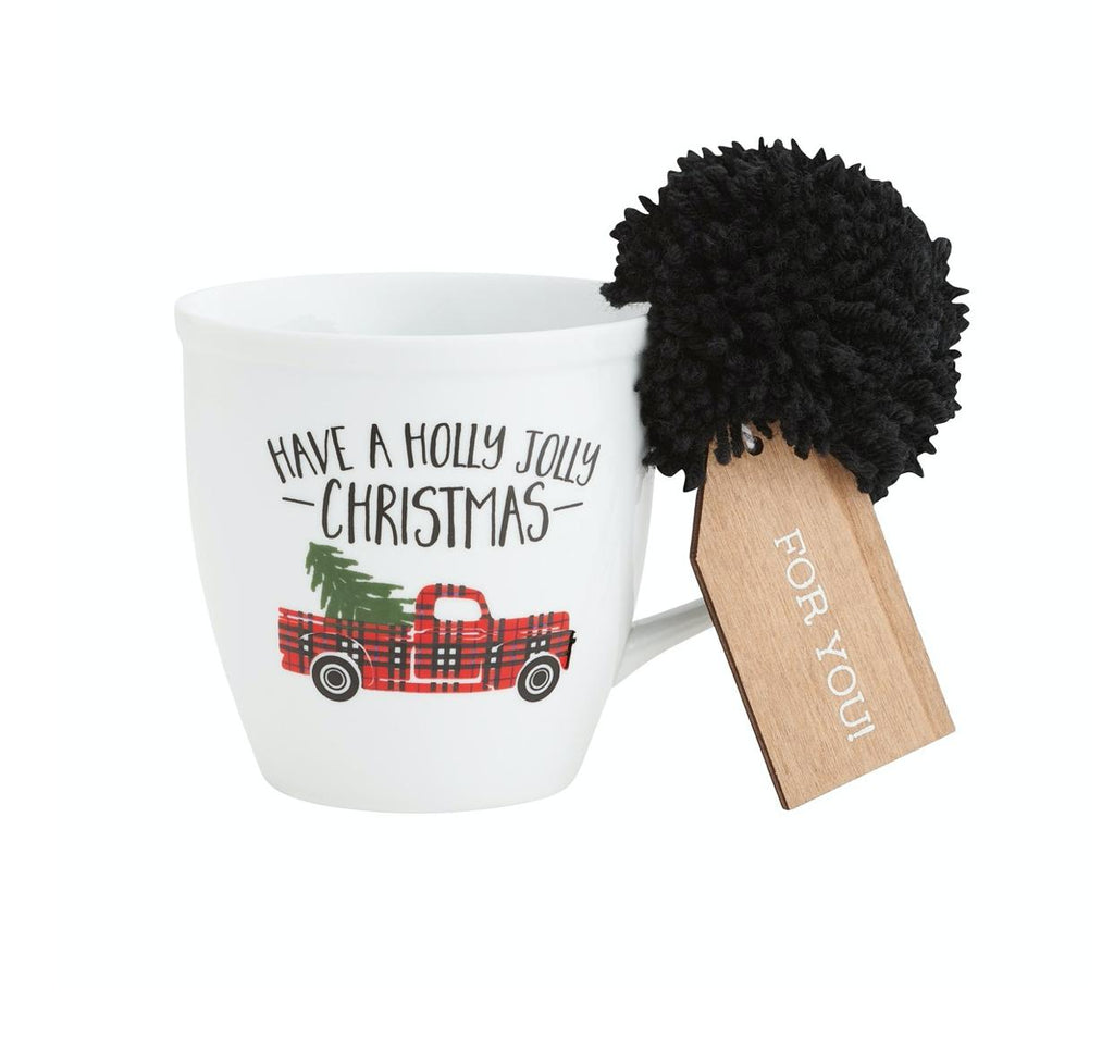 Porcelain Holiday Mug with Pom-Collins Painting & Design-Sandy's Secret Wednesdays Unique Boutique