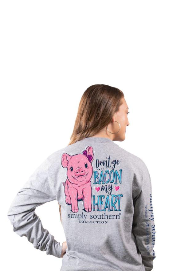 Simply Southern Bacon My Heart Long Sleeve-Simply Southern-Sandy's Secret Wednesdays Unique Boutique