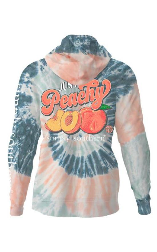 Simply Southern Just Peachy Tie Dye Pullover Hoodie-Simply Southern-Sandy's Secret Wednesdays Unique Boutique