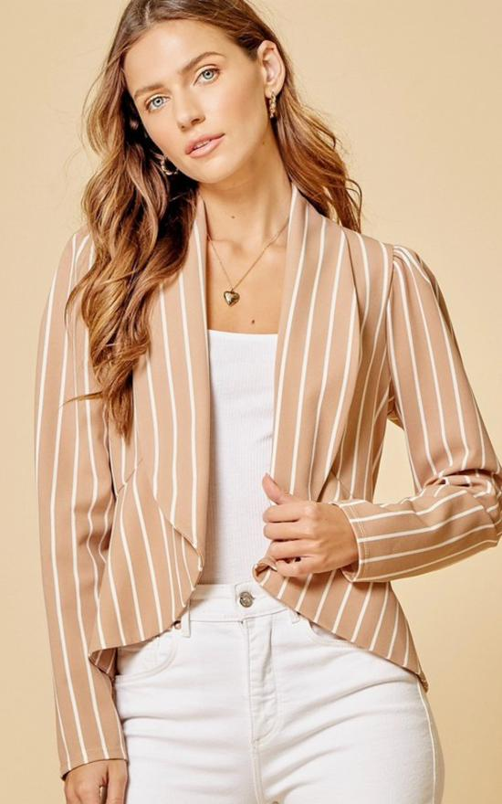 *Striped Peplum Blazer-Andree by Unit-Sandy's Secret Wednesdays Unique Boutique
