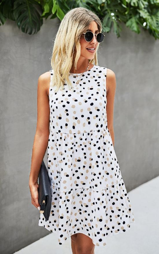 Tiered Sleeveless Polka Dot Dress-Mountain Valley Trading-Sandy's Secret Wednesdays Unique Boutique