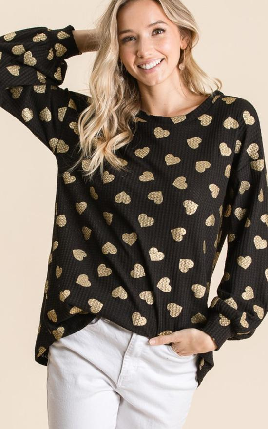 *Waffle Knit Heart Top-Madison-Sandy's Secret Wednesdays Unique Boutique
