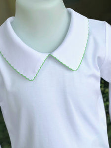 Pointed collar shirt with apple green picot trim