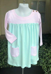 Pima boatneck dress - pink/mint