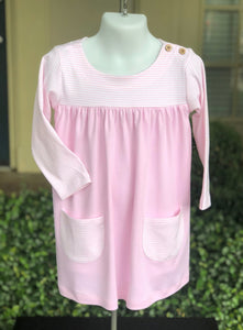 Pima boatneck dress pink/pink
