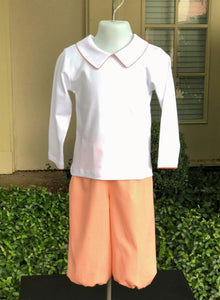 Pointed collar shirt with orange picot trim