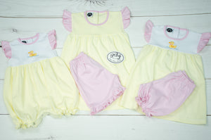 Pima Yellow stripes girl angel sleeves set w/ ruffle shorts