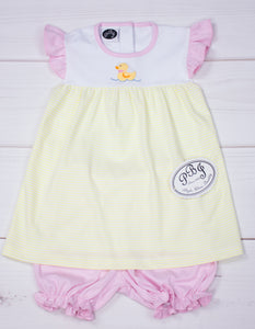 Pima Duck girl diaper set w/ bloomers