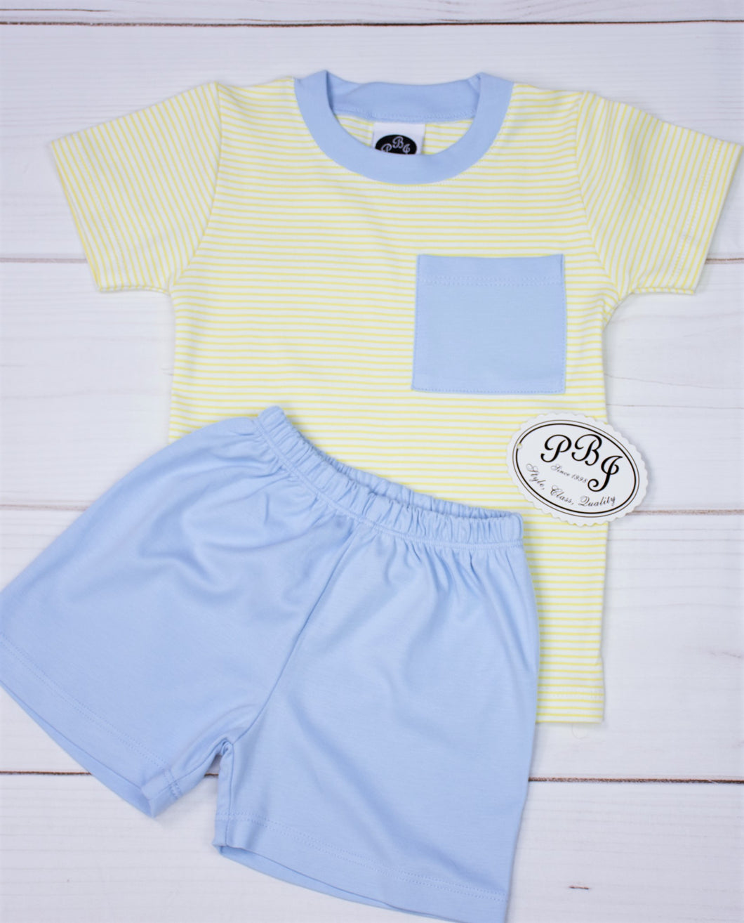 Pima Yellow stripes pocket set/ blue shorts
