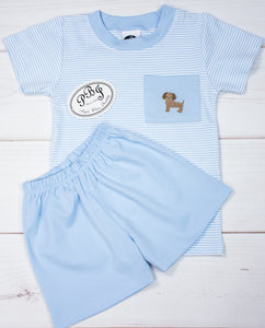 Pima Puppy pocket shirt set/ solid shorts