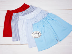 Pima plain shorts (red, royal stripes, blue stripes, solid blue, turquoise)