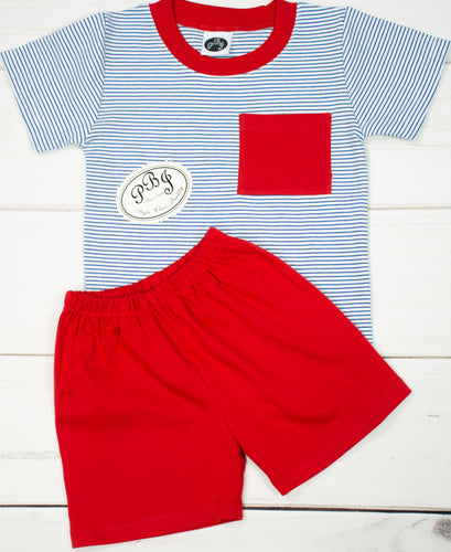 Pima Royal stripes pocket set/ red contrast and shorts