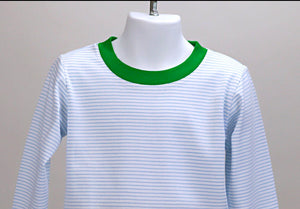 Pima crewneck lounge set - blue stripes/ green