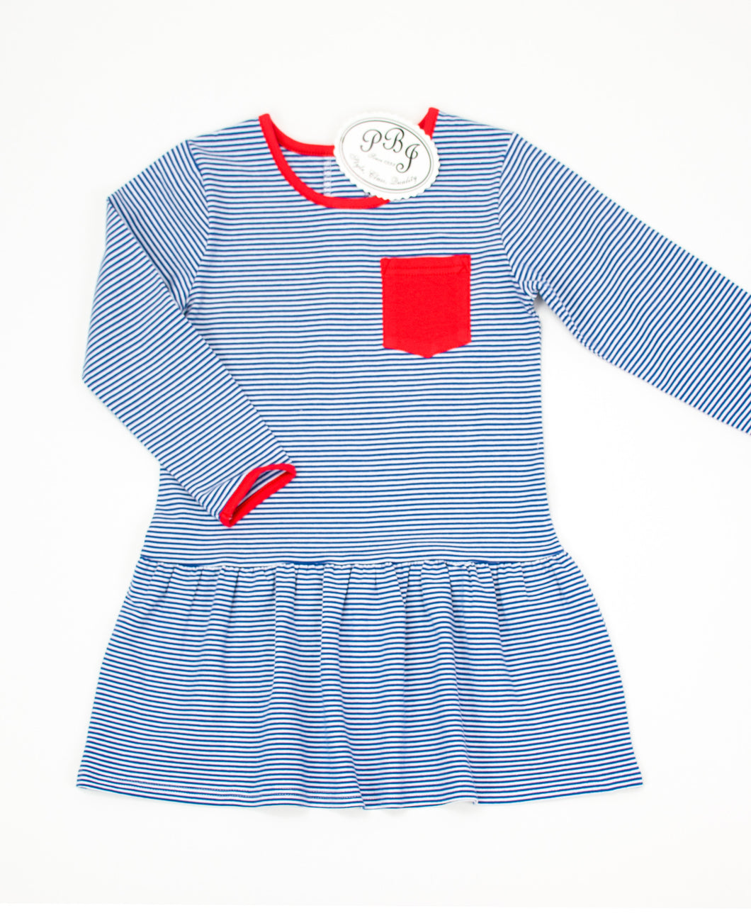 Dropped waist dress/ Navy stripes and red
