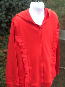 Girl ruffled hoodie jacket - light red