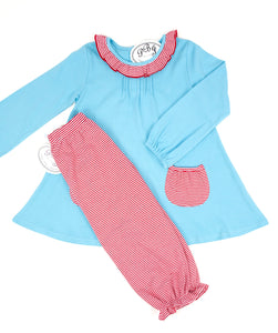 Pintucked Tunic w/ pockets Aqua and red stripes