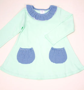 Swing Top w/ pockets Mint and navy stripes