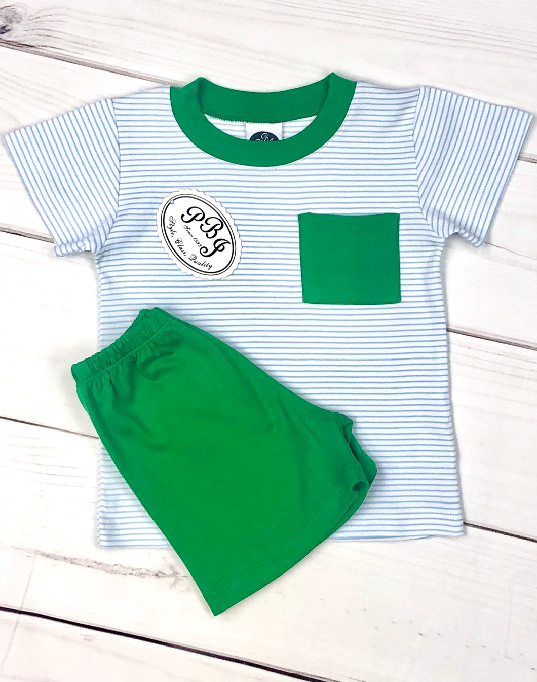 Pima pocket shirt set Blue stripes/ Emerald
