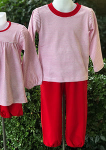Pima crewneck lounge set - red stripes/ red