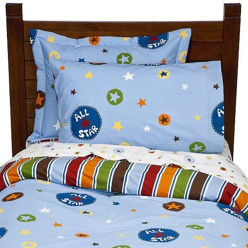 All Stars Blue Striped Full Comforter Sheets Bedding Set
