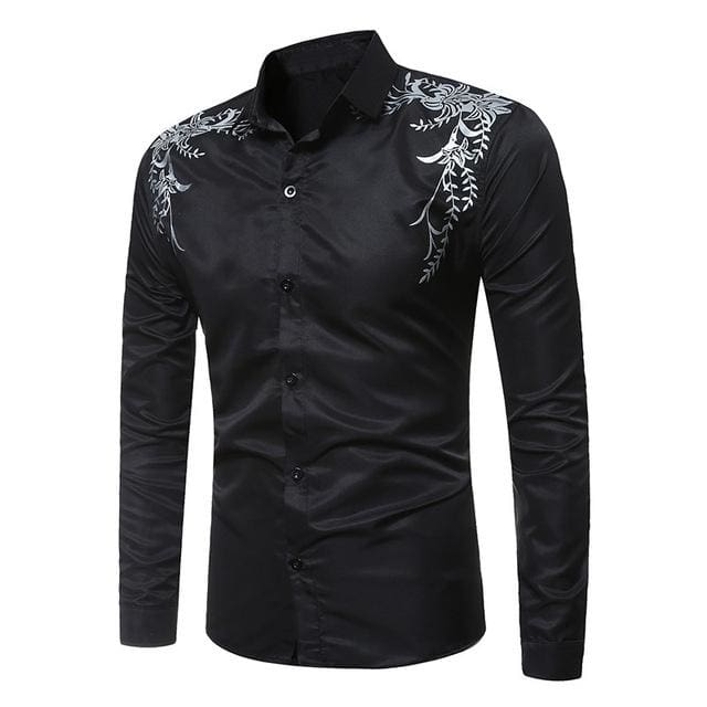Autumn Fashion Brand Mens Slim Fit Long Sleeve Shirt - Black / M - Men - Shirts