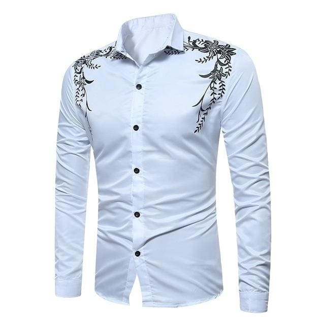 Autumn Fashion Brand Mens Slim Fit Long Sleeve Shirt - White / M - Men - Shirts