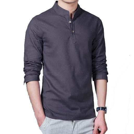 Men S Long Sleeved Cotton And Linen Shirt - Dark Gray / M - Men - Shirts