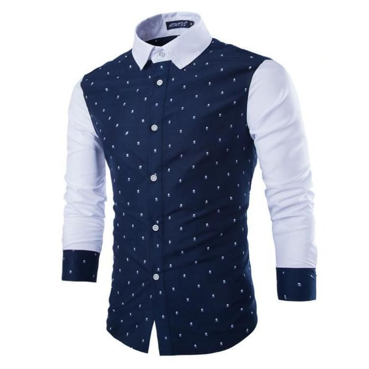 Men Stitching Long Sleeve Fashion Shirt - Navy Blue / M - Men - Shirts