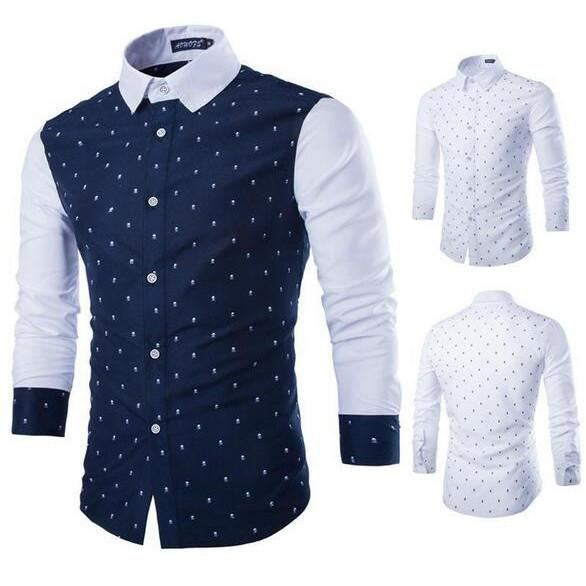 Men Stitching Long Sleeve Fashion Shirt - Men - Shirts