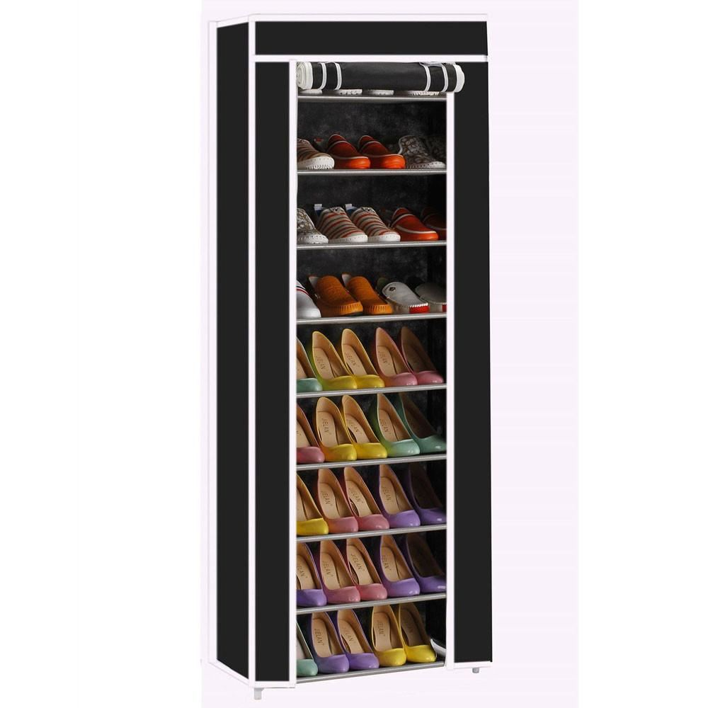 Portable 10 Tier Shoe Rack/storage Closet Organizer W/cover Black - Home - Storage