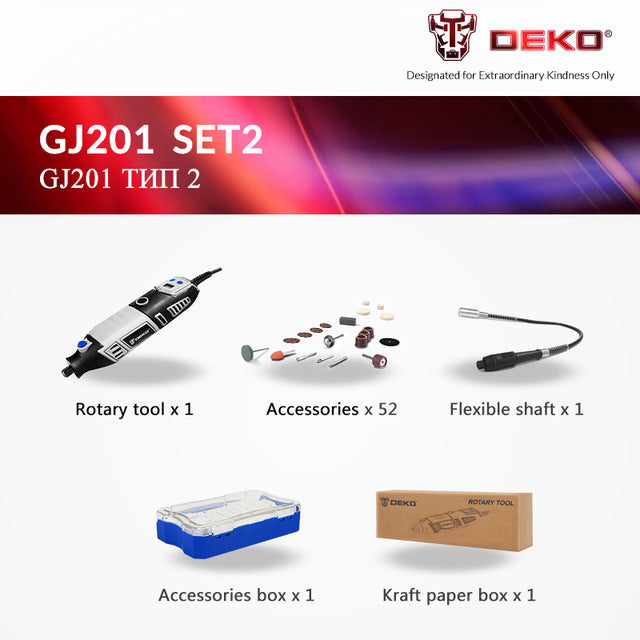 DEKO GJ201 LCD Variable Speed Rotary Tool Dremel Style Engraver/Electric Mini Drill Grinder w/ Flexible Shaft
