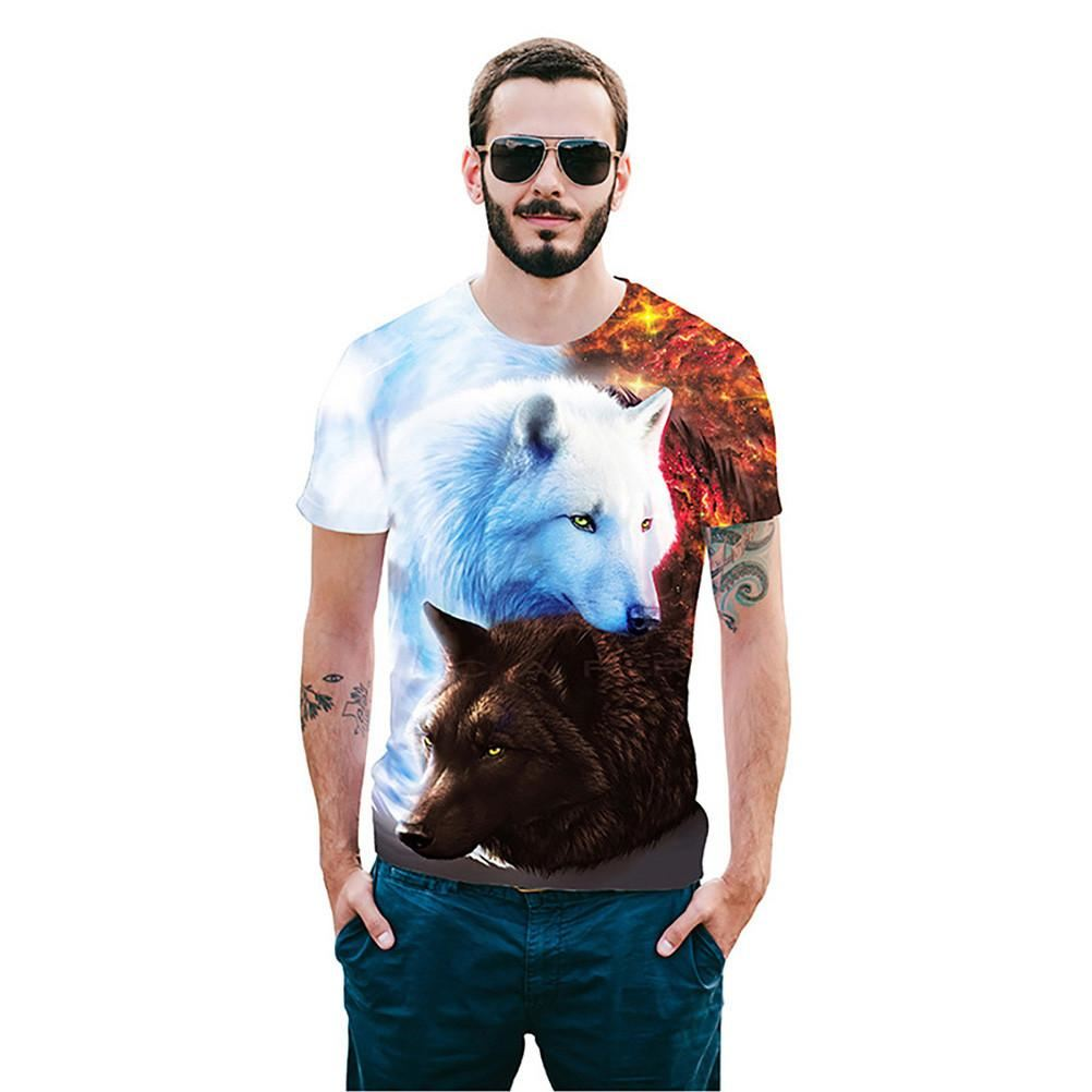 Two Wolves Short Sleeve Summer 3D T-Shirt Print - As Shown / Xxl - Men - T-Shirts
