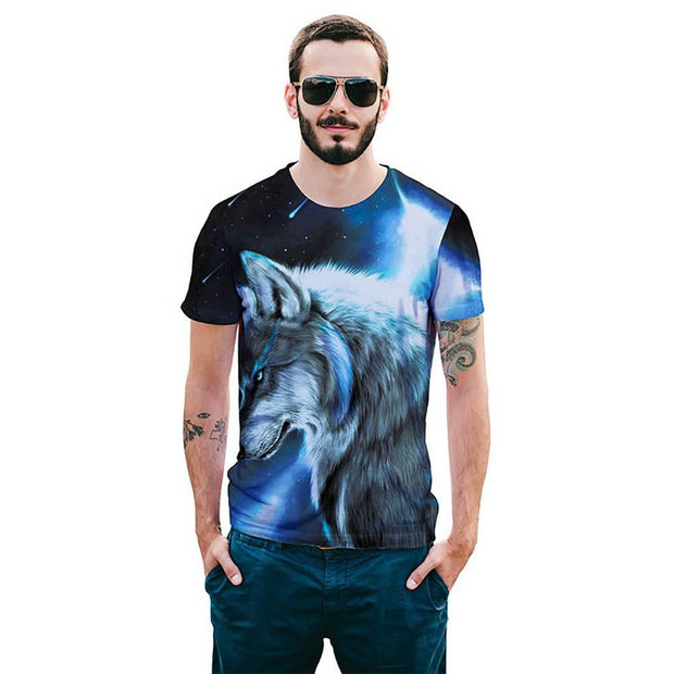 Wolf Short Sleeve 3D T-Shirt - As Shown / L - Men - T-Shirts