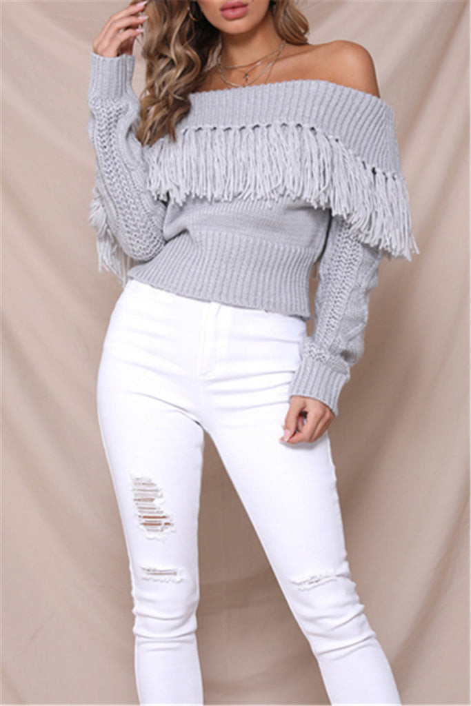 0772d4da76579 Shyoin Off-the-shoulder Cowgirl Knit Sweater