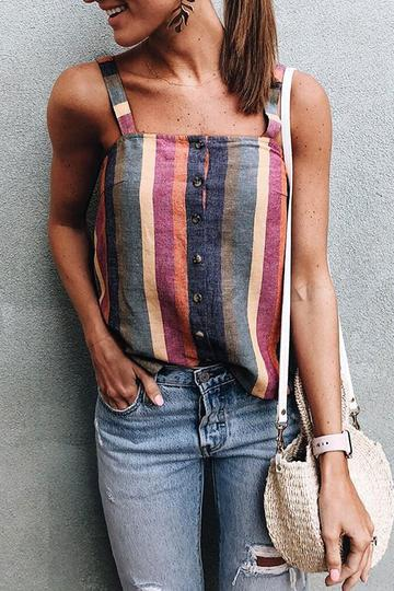 a8b716439b4fa Shyoin On-trend Colorful Striped Tank Top