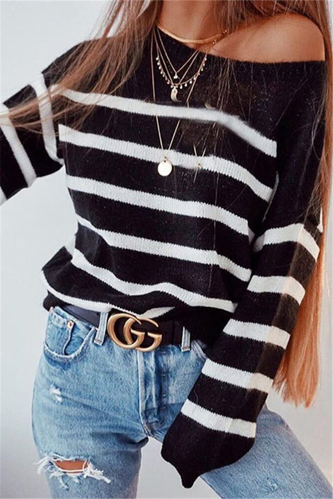 5e838a5ec9a48 Shyoin One Shoulder Striped Basic Sweater